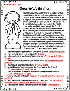 Non-Fiction Reading Passages - U.S. Presidents