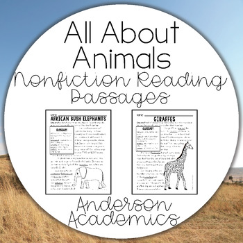 Nonfiction Reading Passages with Glossaries - All About Animals