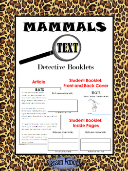 Mammals Non Fiction Reading Passages with Text Detective Booklets