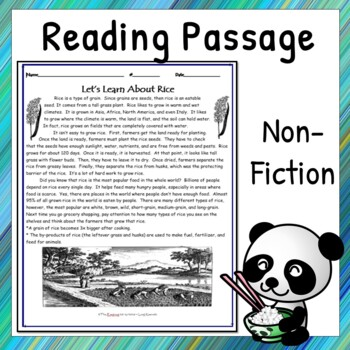 Non-Fiction Reading Comprehension Passage - Let's Learn About Rice