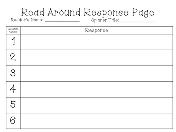 Non-Fiction Reading: Read Around Response Spinners and Bookmarks