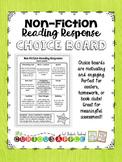 Non - Fiction Reading Response Choice Board {version 1}