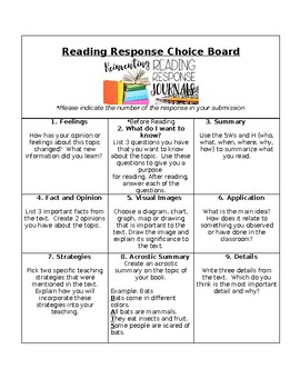 Non Fiction Reading Response Choice Menu