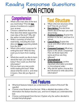 Non Fiction Reading Response Questions