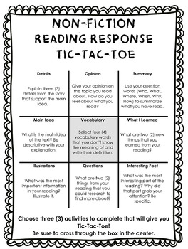 Non Fiction Reading Response Tic Tac Toe Choice Board