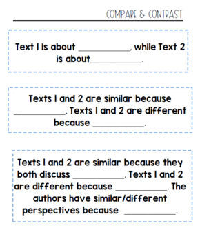 Non-Fiction Reading Sentence Stems