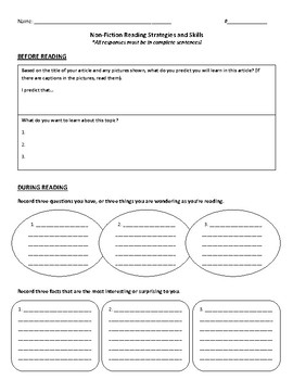 Non-Fiction Reading Strategies and Skills Graphic Organizer