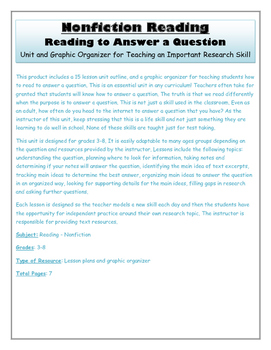 Non Fiction Reading to Answer a Question:  Unit and Graphic Organizer