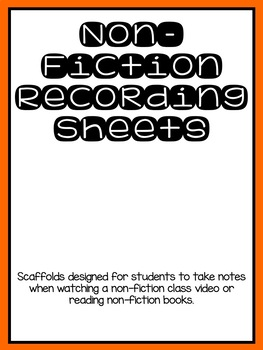 Non-Fiction Recording Sheet