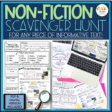 Non-Fiction, Informational Scavenger Hunt for ANY Piece of Informational Text!