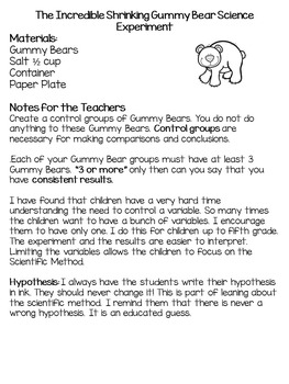 Science Close Reading  & the Shrinking Gummy Bear Science Experiment