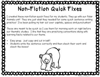 Sentence Writing Quick Fixes - Non-Fiction Polar Themed
