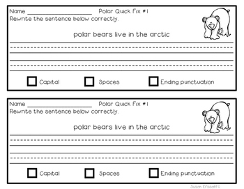 Sentence Writing Quick Fixes - Non-Fiction Polar Themed