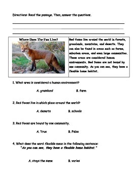 Non Fiction Story: Where Does the Fox Live?