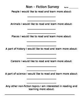 Non-Fiction Student Survey