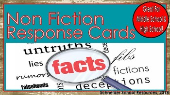 Non Fiction Study for Middle and High School: Text Response Cards