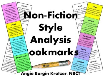 Non-Fiction Style Analysis Bookmarks