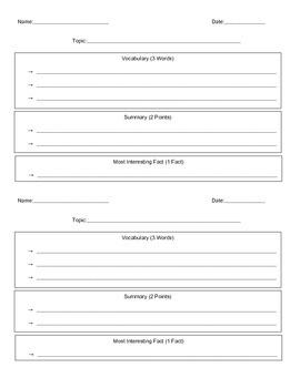 Non-Fiction Summarizing Note Sheet
