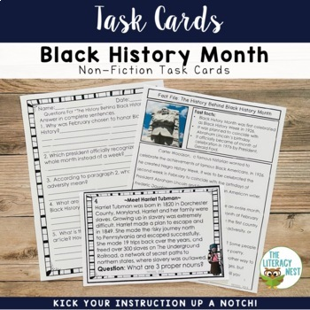 February Centers Black History Month Task Cards
