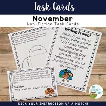 November Centers Non-Fiction Turkey Task Cards