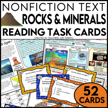 Rocks, Minerals, and Volcanoes Nonfiction Task Cards