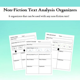 Non-Fiction Text Analysis Organizers