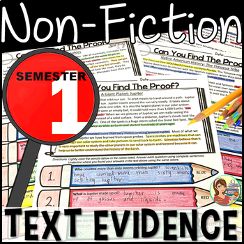 Reading Comprehension Passages and Questions Nonfiction {BUNDLE Semester 1}