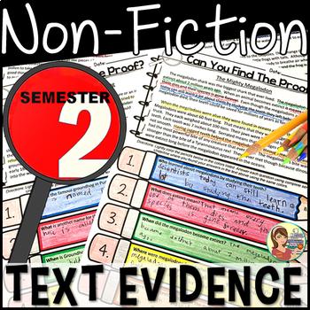 Nonfiction Passages Text Evidence  {BUNDLE Semester 2}