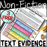 Non-Fiction Reading Passage Text Evidence FREE