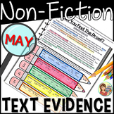 Non-Fiction Reading Passages Text Evidence {May}