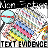 Non-Fiction Reading Passages Text Evidence {November}