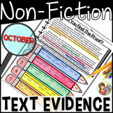 Non-Fiction Reading Passages Text Evidence {October}