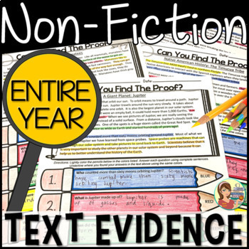 NonFiction Reading Passages Text Evidence  {BUNDLE ENTIRE YEAR}