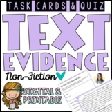 Non-Fiction Text Evidence Task Cards   Google Forms Quiz