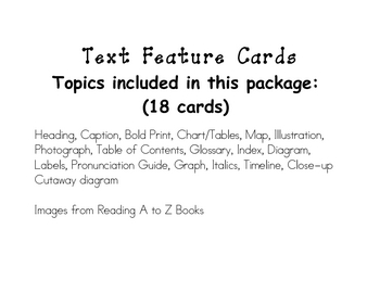 Non-Fiction Text Feature Cards