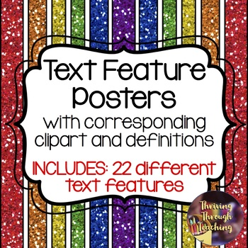 Non-Fiction Text Feature Posters with Definitions & Clipart