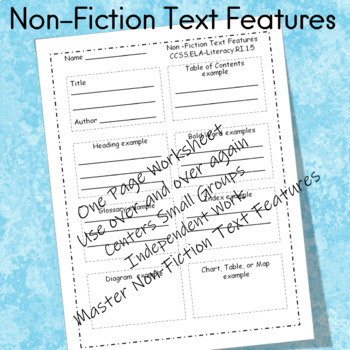 Non-Fiction Text Features   Use with ANY non-fiction text
