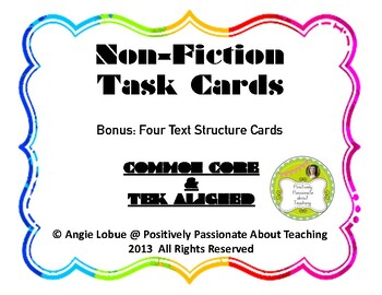 Non Fiction Task Cards {Text Features & Text Structure}