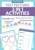 Non-Fiction Text Features 3in1 Activities (book hunt, book marks, reflection)