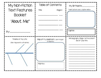 Non-Fiction Text Features About Me Booklet
