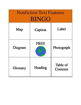 Non Fiction Text Features Bingo