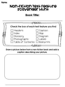 Non-Fiction Text Features Book Scavenger Hunt