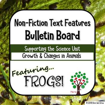 Non-Fiction Text Features Bulletin Board Set featuring FROGS!