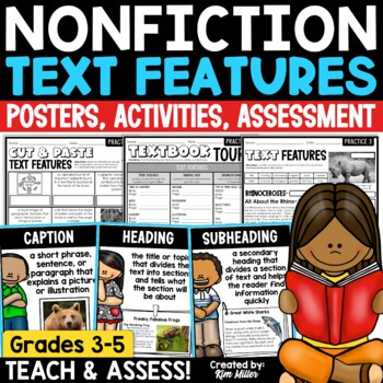 Non-Fiction Text Features Posters with Descriptions & Illustrations