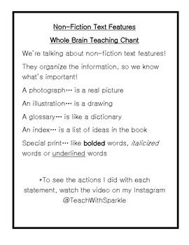 Non-Fiction Text Features Chant