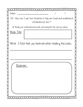 Non-Fiction Text Features Checklist and Writing Activities (informational)