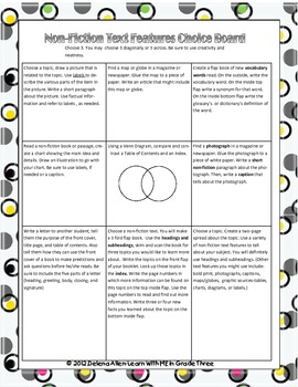 Non-Fiction Text Features Choice Board