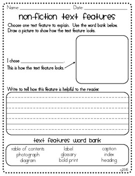Non Fiction Text Features Explanation Graphic Organizer