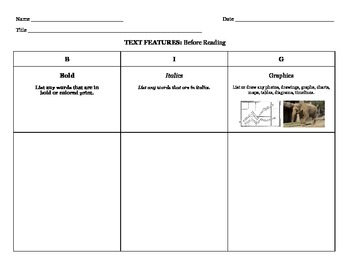 Non-Fiction Text Features Graphic Org with Visual Supports