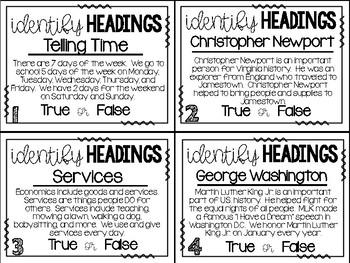 Non-Fiction Text Features:  Headings True or False Center